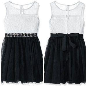 Illusion Sleeveless Soutache Tulle Dress Girls New